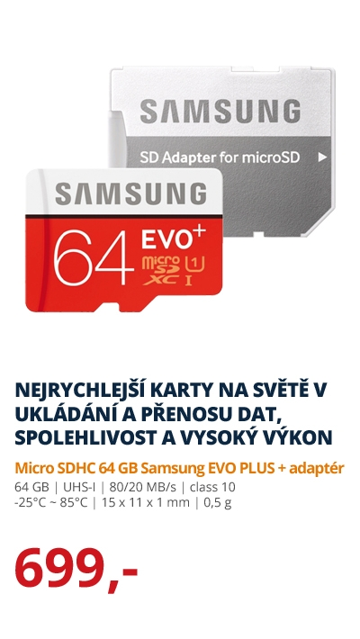 Micro SDHX 64 GB Samsung EVO PLUS + adaptér